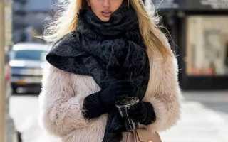 Меховой шарф: как и с чем носить, фото