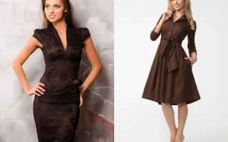 Коричневое платье – уверенный образ