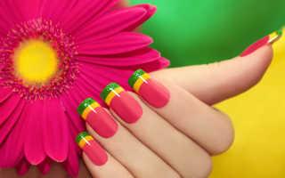 Красивые варианты дизайна разноцветного френча на ногтях