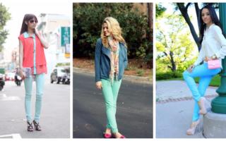 Бирюзовые брюки: с чем носить