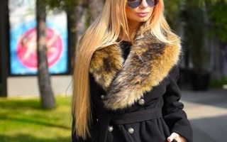 Зимнее кашемировое пальто с меховым воротником